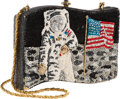 Explorers:Space Exploration, Lois Aldrin's Kathrine Baumann Evening Bag Depicting Buzz Aldrin and the American Flag on the Moon, Originally from Her Person...