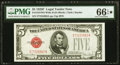 Fr. 1531 $5 1928F Wide II Legal Tender Note. PMG Gem Uncirculated 66 EPQ★