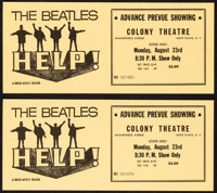 """Help! (United Artists, 1965). Near Mint. Advance Prevue Showing Tickets (2) (3.75"""" X 8.75""""). Rock and Roll..."""