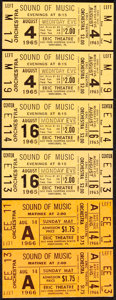 "Movie Posters:Academy Award Winners, The Sound of Music (20th Century Fox, 1965). Very Fine+. Unused Movie Tickets (1.5"" X 3.5""). Academy Award Winners.. ... (Total: 6 Items)"
