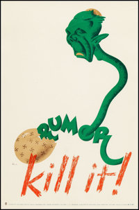 """World War II Propaganda (Ministry of National War Services, Early 1940s). Very Fine- on Linen. Canadian Poster (9""""..."""