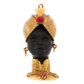 Estate Jewelry:Brooches - Pins, Ebony, Coral, Gold Brooch . ...