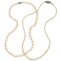 Estate Jewelry:Necklaces, Cultured Pearl, White Gold, Base Metal Necklaces . ... (Total: 2 Items)