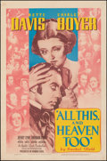 """Movie Posters:Drama, All This, and Heaven Too (Warner Bros., 1940). Fine+ on Linen. One Sheet (27"""" X 41""""). Drama.. ..."""
