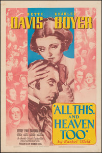 """All This, and Heaven Too (Warner Bros., 1940). Fine+ on Linen. One Sheet (27"""" X 41""""). Drama"""