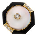 Estate Jewelry:Rings, Mabe Pearl, Diamond, Black Onyx, Gold Ring . ...