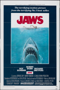 "Jaws (Universal, 1975). Folded, Fine/Very Fine. One Sheet (27"" X 41""). Roger Kastel Artwork. Horror"