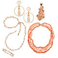 Estate Jewelry:Lots, Coral, Diamond, Gold Jewelry Lot . ... (Total: 5 Items)
