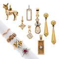 Estate Jewelry:Lots, Diamond, Cultured Pearl, Synthetic Ruby, Gold Jewelry . ... (Total: 11 Items)