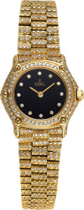 Timepieces:Wristwatch, Ebel, Lady's 1911, 18k Gold and Pave Diamond, Circa 1990's. ...