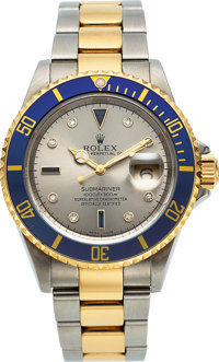 Rolex, Oyster Perpetual Submariner Ref. 16613, 18k Gold and Steel, Serti Dial, Circa 2003