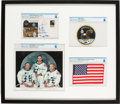 Explorers:Space Exploration, Apollo 11: Deluxe Limited Edition (#5/11) Framed Presentation including a Flown American Flag, a Crew-Signed Insurance Cover,...