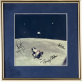 "Explorers:Space Exploration, Apollo 11 Crew-Signed (1969) Lunar Rendezvous and ""Earthrise"" Color Photo in Framed Display. ..."