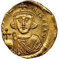 Ancients:Byzantine, Ancients: Justinian II, first reign (AD 685-695). AV solidus (19mm, 4.44 gm, 7h). NGC MS 3/5 - 3/5 brushed....