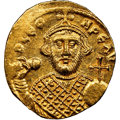Ancients:Byzantine, Ancients: Leontius (AD 695-698). AV solidus (20mm, 4.37 gm, 7h). NGC MS 4/5 - 3/5, edge bend, clipped. ...
