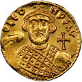 Ancients:Byzantine, Ancients: Leontius (AD 695-698). AV solidus (19mm, 4.41 gm, 7h). NGC MS 4/5 - 3/5, brushed, clipped. ...