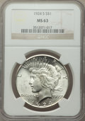 Peace Dollars: , 1924-S $1 MS63 NGC. NGC Census: (879/955). PCGS Population: (1669/1515). CDN: $400 Whsle. Bid for NGC/PCGS MS63. Mintage 1,...