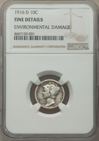 1916-D 10C -- Environmental Damage -- NGC Details. Fine. Mintage 264,000. ...(PCGS# 4906)