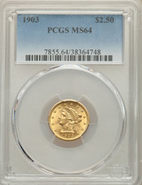 1903 $2 1/2 MS64 PCGS. PCGS Population: (1437/1183). NGC Census: (1360/1077). CDN: $406 Whsle. Bid for NGC/PCGS MS64. Mi...
