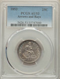 Seated Quarters, 1853 25C Arrows and Rays AU53 PCGS. PCGS Population: (116/741). NGC Census: (63/700). CDN: $230 Whsle. Bid for NGC/PCGS AU5...