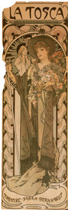 Prints & Multiples, Alphonse Mucha (Czech, 1860-1939). La Tosca, 1899. Lithograph in colors on paper laid on board. 41 x 14 inches (104.1 x ...