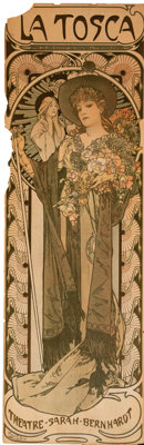 Alphonse Mucha (Czech, 1860-1939) La Tosca, 1899 Lithograph in colors on paper laid on board 41 x