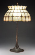 Lighting, Tiffany Studios Bronze Lamp Base with Capiz Shell Shade, early 20th century. Marks to base: TIFFANY STUDIOS, NEW...