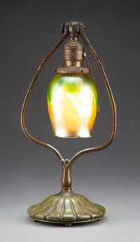 Tiffany Studios Pulled Feather Favrile Glass and Patinated Bronze Harp Lamp, circa 1900 Marks to shade: L.C.T. Marks t...