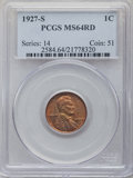 Lincoln Cents: , 1927-S 1C MS64 Red PCGS. PCGS Population: (151/17). NGC Census: (16/7). CDN: $850 Whsle. Bid for NGC/PCGS MS64. Mintage 14,...