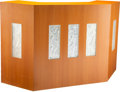 Furniture, René Lalique (French, 1860-1945). Reception Desk with Five Panels, post-1945. Mahogany, glass . 43-1/2 x 67 x 34 inches ...