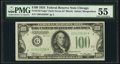 Fr. 2152-G* $100 1934 Dark Green Seal Federal Reserve Note. PMG About Uncirculated 55