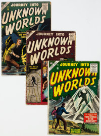 Journey Into Unknown Worlds #40, 52, and 56 Group (Atlas, 1955-57) Condition: Average GD+.... (Total: 3 Comic Books)