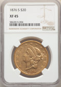 1876-S $20 XF45 NGC. NGC Census: (390/7070). PCGS Population: (287/6640). CDN: $1,664.12.Whsle. Bid for NGC/PCGS XF45. M...
