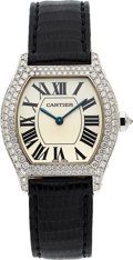 Timepieces:Wristwatch, Cartier, Tortue, Lady's White Gold And Diamond Wristwatch, Ref. 2644, circa 2000. ...