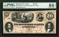 Obsoletes By State:Missouri, St. Louis, MO- Exchange Bank of St. Louis $20 18__ G46 Proof PMG Choice Uncirculated 64 EPQ.. ...