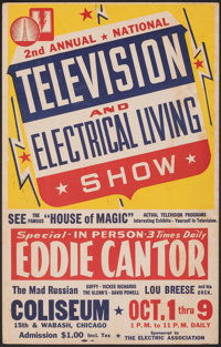 Television and Electrical Living Show w/ Eddie Cantor (Electric Association, 1949). Very Fine-. Trade Show Window Card (...
