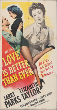 """Love is Better Than Ever (MGM, 1952). Folded, Fine/Very Fine. Three Sheet (41"""" X 78.5""""). Romance"""