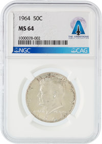 Coins: 1964 50¢ MS64 NGC Kennedy Silver Half Dollar Directly From The Armstrong Family Collection™, CAG Certified...