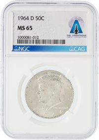 Coins: 1964-D 50¢ MS65 NGC Kennedy Half Dollar Directly From The Armstrong Family Collection™, CAG Certified