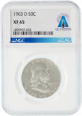 Explorers:Space Exploration, Coins: 1963-D 50¢ XF45 NGC Franklin Silver Half Dollar Directly From The Armstrong Family Collection™, ...