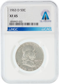 Coins: 1963-D 50¢ XF45 NGC Franklin Silver Half Dollar Directly From The Armstrong Family Collection™, CAG Certifie...
