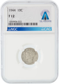 Coins: 1944 10¢ F12 NGC Mercury Dime Directly From The Armstrong Family Collection™, CAG Certified