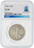 Explorers:Space Exploration, Coins: 1942 50¢ VF30 NGC Walking Liberty Half Dollar Directly From The Armstrong Family Collection™, CAG Certified....