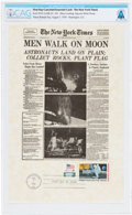 """Explorers:Space Exploration, Philatelia: New York Times Facsimile Apollo 11 """"Men Walk on Moon"""" Front Page First Day Cance..."""