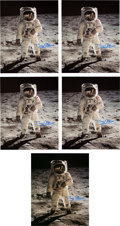 """Explorers:Space Exploration, Buzz Aldrin Signed Large Apollo 11 Lunar Surface """"Visor"""" Color Photos (Five) Originally from His Personal Collection...."""