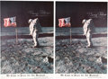 "Explorers:Space Exploration, Buzz Aldrin Signed Large Apollo 11 Lunar Surface American Flag Color Poster, ""We Came in Peace for All Mankind..."" (Two) Origi... (Total: 2 )"