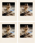 "Explorers:Space Exploration, Buzz Aldrin Signed Large Apollo 11 Lunar Surface ""Visor"" Color Photos (Four) Originally from His Personal Collection.... (Total: 4 )"