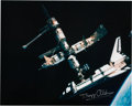 Explorers:Space Exploration, Buzz Aldrin Signed Large Photo of Space Shuttle Atlantis Connected to Russian Space Station Mir, Origi...