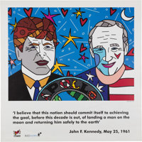 "Romero Britto ""Buzz and JFK"" Poster, Originally from Aldrin's Personal Collection"