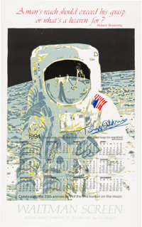 "Buzz Aldrin Signed ""Visor"" Image Calendar Poster, Originally from Aldrin's Personal Collection"